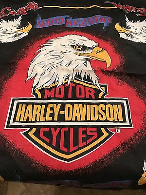 Harley Davidson Bandana Flag Army Eagle Patriotic Scarf Decor Black Vintage US