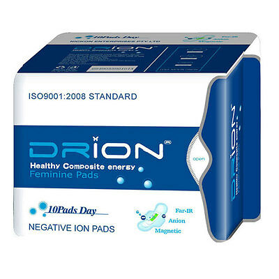 DRION Negative Ion Far Infrared Feminine Menstrual Sanitary DAY PADS - 10 PADS