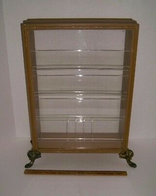 Antique Jewelers Display Case Wood & Plexiglas Brass? Feet