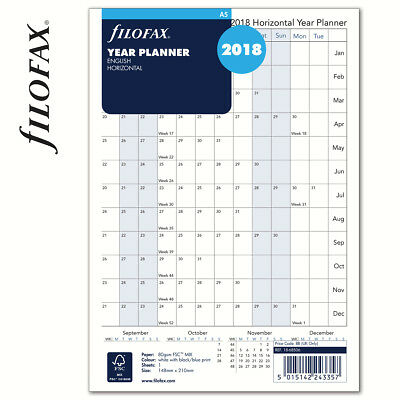 Filofax Calendar Refill, A5, Full Year Horizontal Planner, English, 2018