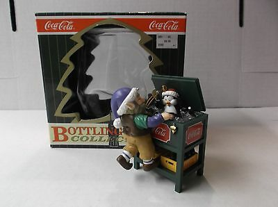 Coca-Cola Bottling Works Collection Ornament Elf With Penguin In Ice Chest