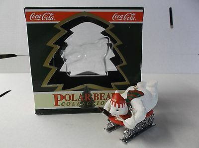 Coca-Cola Polar Bear Collection Ornament Polar Bear On Sled With Box 1994