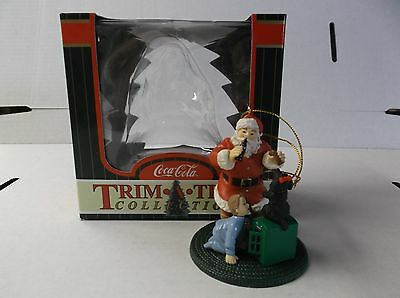 Coca-Cola Trim A Tree Collection Ornament Santa W/ Boy And Dog With Box 1998