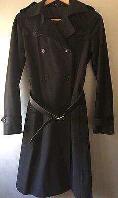 EUC THEORY Women's Black Belted Trench Coat Jacket Size Small $500+!!