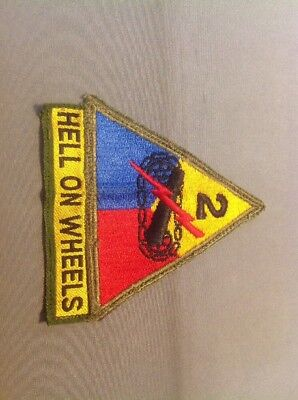 Original 2Nd Armored Division Shoulder Insignia Patch Hell On Wheels