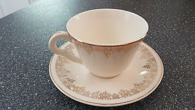 SEMI VITREOUS BY Edwin Knowles KNO68 Cup & Saucer Gold Filigree Rim Smooth USA