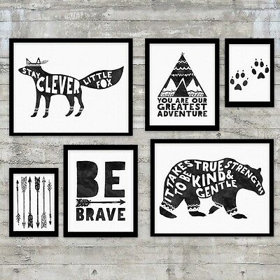 FLASH SALE - Monochrome Baby Boy Girl Nursery Room Wall Art Decor Print Teepee