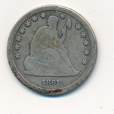 1861 Seated Liberty Silver Quarter-Nice Circulated Quarter- Shipping Is Free!