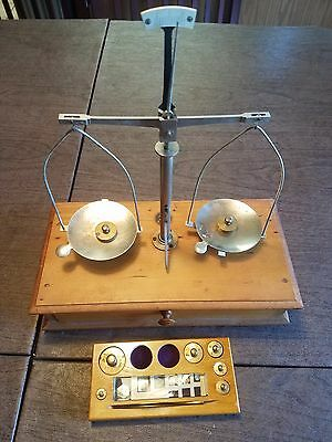 Vintage Knott Apothecary Balance/ Scale In Original Wooden Box