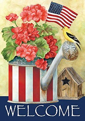 Toland - Patriotic Watering Can - Decorative Welcome America Red White Blue USA