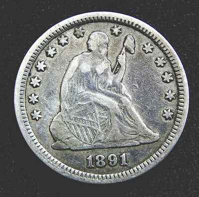 1891 Liberty Seated Silver Quarter