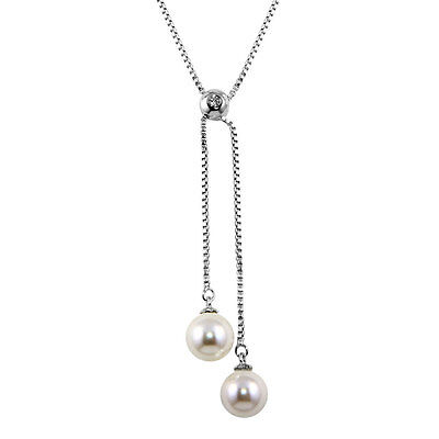 Sterling Silver Rhodium Plated Box Drop White Synthetic Pearl Necklace
