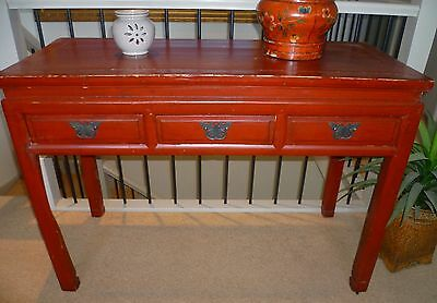 Vintage Chinese elm red laquered hall table / desk
