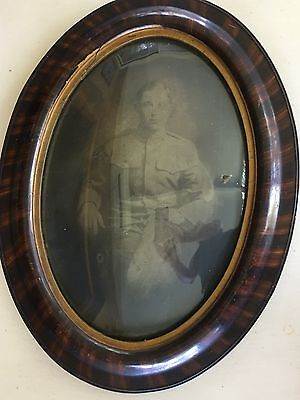 """Antique Tiger Wood Convex Oval Frame Bubble Glass 24.5"""" X 19"""" W/Picture"""