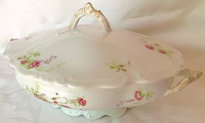 Rare Cmc Gmc Limoges Pink Roses Tureen Covered Vegetable Dish, Great Condition