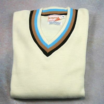 Vintage 60s Sweater Size XL Cascade of California Ivory w/ Brown and Blue Trim