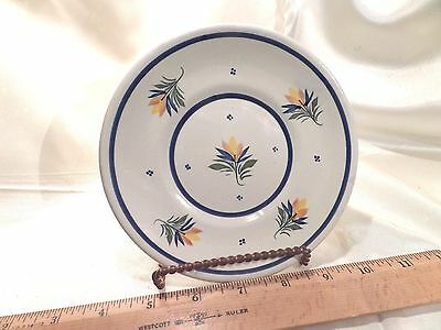 Vintage Henriot Quimper France 720 Faience Saucer, White With Yellow Flowers