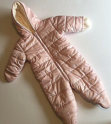 Old Navy 6-12 Months Snowsuit Girls Polyester Fill Light Pink Puffer Suit