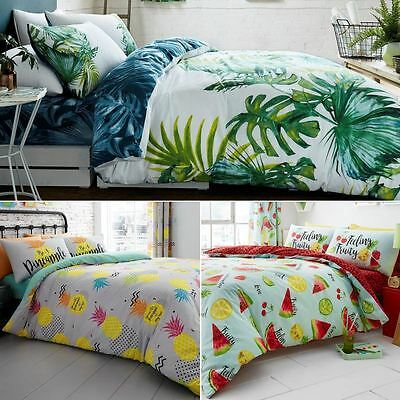 Tropical Leaf / Tutti Fruiti / Pineapple Duvet Covers Reversible Bedding Sets