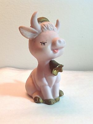 Pink Bisque Cow Figure with Horns Gold Halo & Bell Vintage Angel Holy Cow!