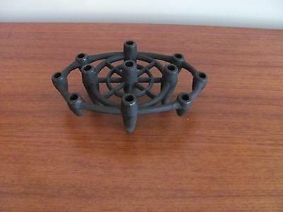 Vtg 1960's Danish Style BLACK IRON CANDLE HOLDER TAPER MCM Marked Japan