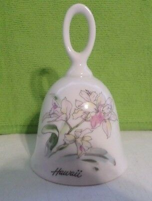 """Porcelain Ceramic Hand Bell Floral Pattern Hawaii 4 1/2"""" Tall"""