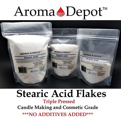 Stearic Acid 1 oz to 5 Lbs Pure Premium Quality TRIPLE PRESSED Pastilles Flakes