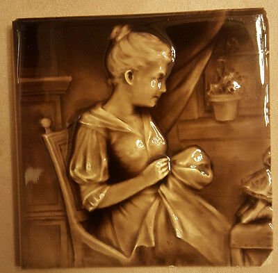"Rare Antique Tile. C. Pardee. Woman Sewing. 6""."