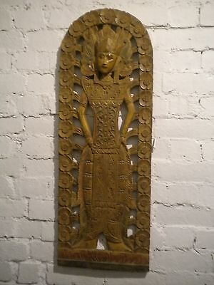 Indonesian Balinese Rice Goddess Mermaid Large Wood Carving Wall Hanging 97cm