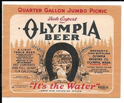Olympia Pale Export Beer Quarter Gallon  Label