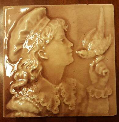 Antique Trent Tile. Young Girl with a Bird . 6""
