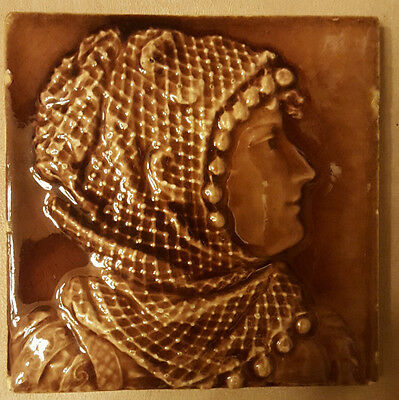 Antique Trent Tile. Woman's Silhouette with a Lace Headcovering. 6""