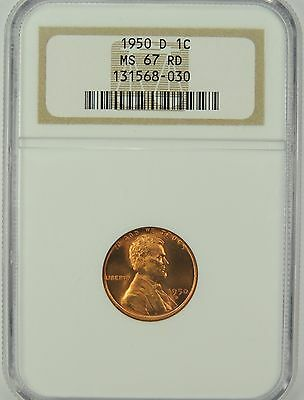 1950-D Lincoln Wheat Cent NGC MS67 RD (GEM RED) #131568-030  TOP POP NONE FINER