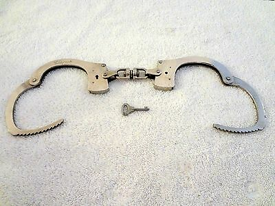 Vintage Clejuso Standard Weight Modified Swivel Handcuffs With Key! Germany