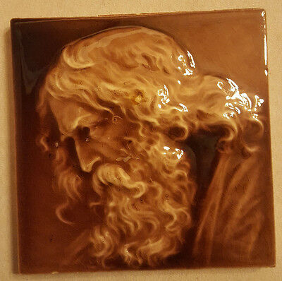 Antique Trent Tile. Old Man's Silhouette. 6""