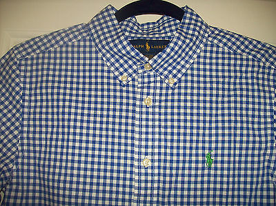 New RALPH LAUREN BOYS SHORT SLV BLUE/WHITE COTTON SHIRT SZ 14/16