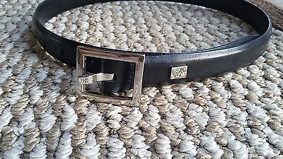 Calvin Klein Genuine Black Leather Belt Size Small Made In Taiwan