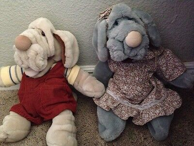 "2 Vintage Wrinkles Puppy Dog Puppet Plush 17"" Heritage Collection Rare"