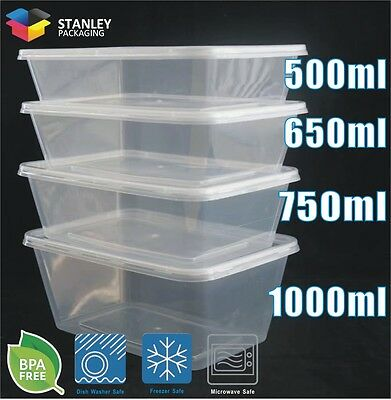 Food Containers plastic Takeaway Storage Boxes 100pcs (50 sets) 500ml~1000ml