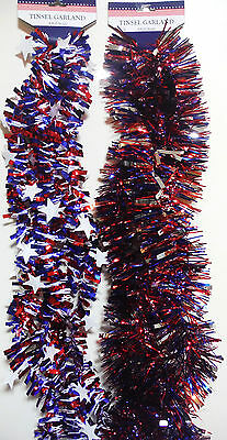 4TH OF JULY GARLAND PATRIOTIC 9FT GARLAND 2 STYLES TO CHOOSE