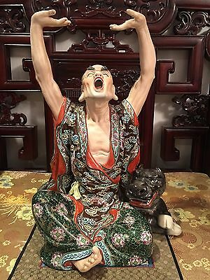 Chinese Antique 18 Lohan Porcelain Raised Hand And Yawn Artist Signed
