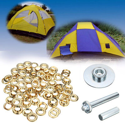 100Pcs Punch Grommets and Tarp Repair Kit Hole Eyelet Tarpaulin Awning Tent Set