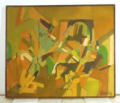 VINTAGE LYRICAL ABSTRACT EXPRESSIONIST OIL PAINTING MID CENTURY MODERN 1950's