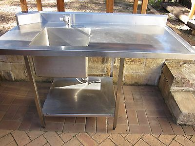 Commercial Stainless Steel Dishwasher Inlet/Outlet Sink Bench