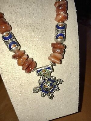 Moroccan Berber Tuareg Tribal Antique Silver And Old Carnelian Necklace