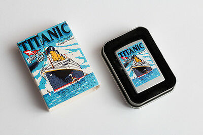 TITANIC WHITE STAR LINE Satin Chrome Lighter (Zippo, 2000) NIB Unfired free ship