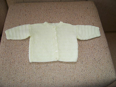 NEW BABY HAND KNITTED CARDIGAN pale lemon 3 -6 MONTHS APPROZX