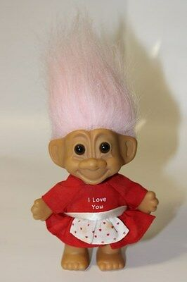 """Vintage Russ Valentines's Day """"I Love You"""" Troll in a Dress (Item 18202)"""
