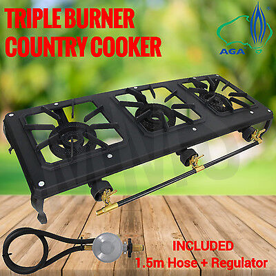 Ignite Triple Burner Country Cooker Cast Iron LPG Camping Gas Stove 1.5m Hose