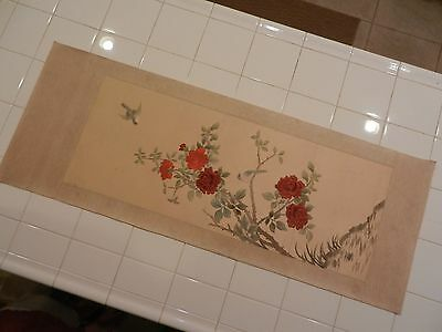 VINTAGE ASIAN SILK EMBROIDERED PANEL ~ BIRDS & ROSES ~ UNFRAMED ~ 47'' x 17.5''